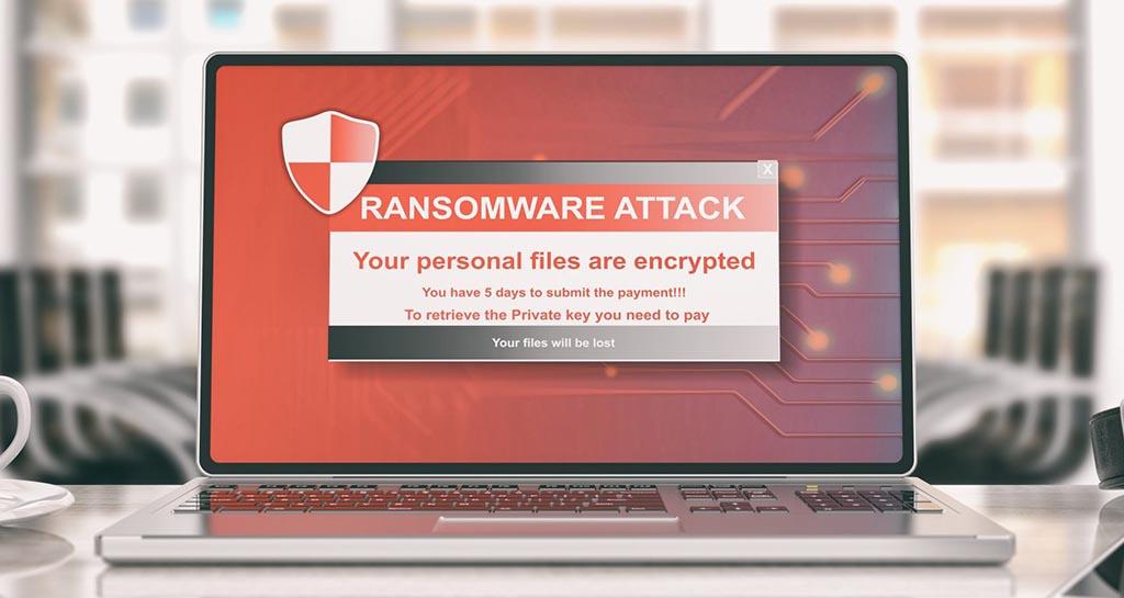 Laptop med fiktivt ransomware